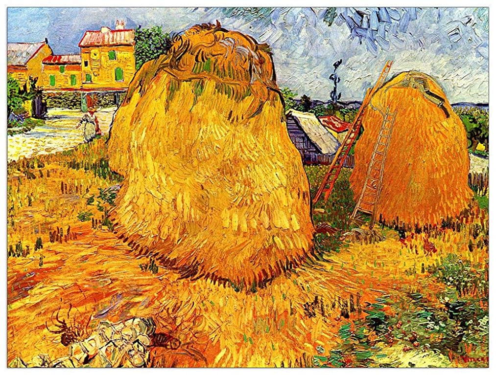 ArtPlaza TW90696 Van Gogh Vincent - Haystacks in Provence II Decorative Panel 35.5x27.5 Inch Multicolored