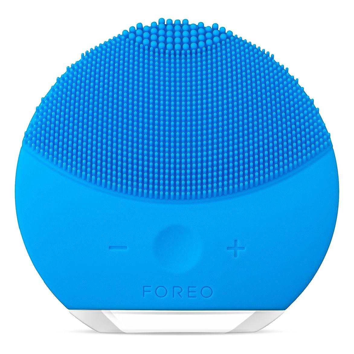 同行する柔和マーベルFOREO LUNA mini 2 アクアマリン 電動洗顔ブラシ シリコーン製 音波振動