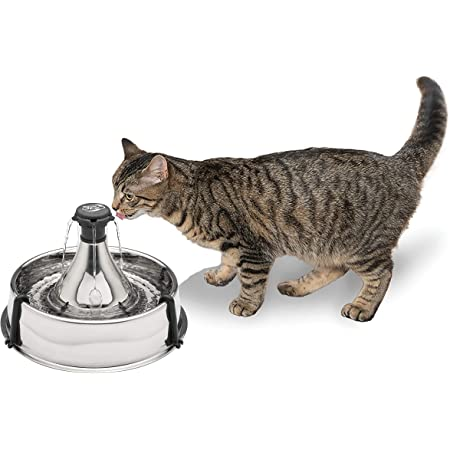 PetSafe Drinkwell Stainless 360 Multi-Pet Fountain - 128 oz Capacity Water Dispenser for Cats and Dogs - Customizable Flowing Stream of Fresh Water - Filter Included - Encourages Pets to Drink More