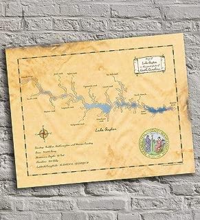 Lake Gaston - North Carolina - Vintage-Inspired Lake Map Print Poster, Unframed 11