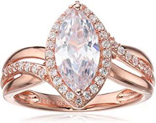 Sterling Silver with Pink Gold Plating Cubic Zirconia Marquise Ring, Size 7