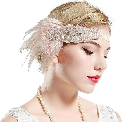 BABEYOND Fascia Anni 20 Gatsby Flapper Headband Fascia Charleston con Piuma Anni 20 Fascia Capelli Gatsby