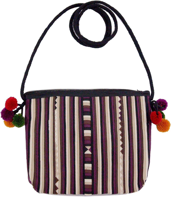Bloomy Life Bohemian Handmade Cloth Zippered Small Crossbody Bag  Purple Stripes