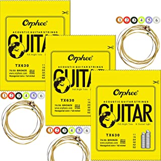 3 Packs Orphee TX630 Colorful Ball-End Phosphor Bronze Acoustic Guitar Strings Super Light (011-052)