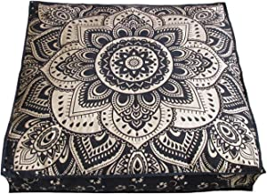 ICC Large Square Floor Pillow Cover Hippie Ottoman Pouf Cover Daybed Cotton Mandala Cushion Cover with Heavy Duty Zipper S...