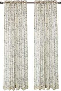 CaliTime Pack of 2 French Script Faux Linen Soft Semi Sheers Rod Pocket Window Curtain Panels for Bedroom 55