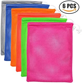 Set of 6 Nylon Mesh Storage Ditty Bag Stuff Sack for Travel & Outdoor Activity (Multicolor)