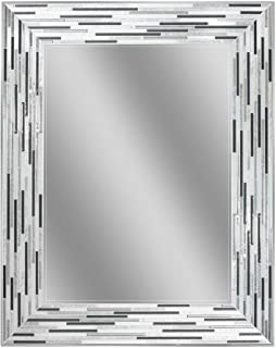 Headwest Reeded Charcoal Tiles Wall Mirror, 30 inches by 24 inches, 30