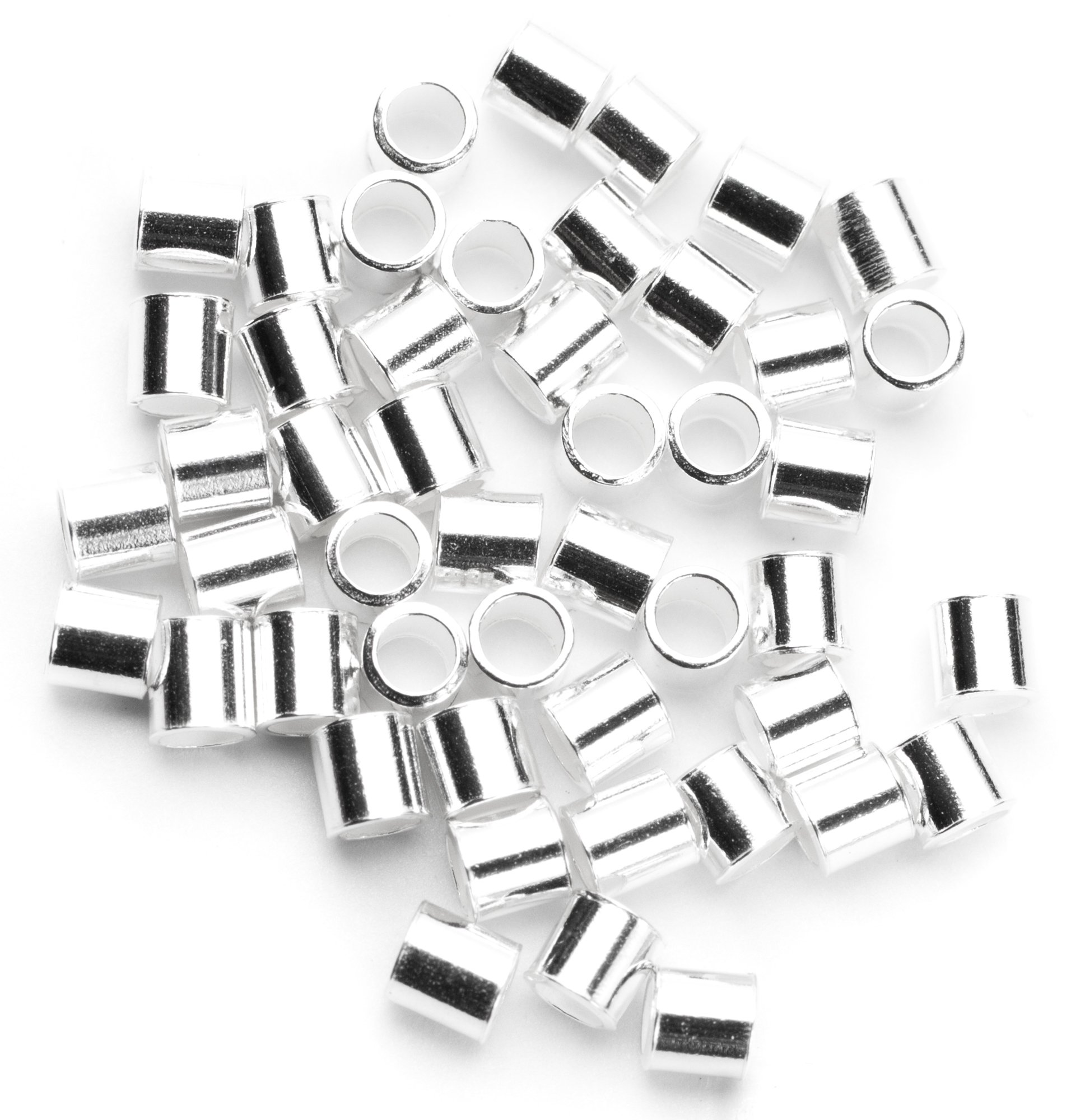 Silver Beadaholique 5004825CCB100 20-Piece Sterling Crimp Bead Covers 2.5mm