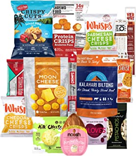Keto Snacks Care Package (15 Count) : Variety of Ketogenic Friendly & Low Carb - Protein Bars, Cheese Crisps, Grass Fed Meat Sticks Bars, Pork Rinds, Biltong, Nuts, Candy In Healthy Snack Gift Box