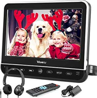 "Vanku 10.1"" Car DVD Player with Headrest Mount, Headphone, HDMI, Support 1080P Video, AV in Out, Region Free, USB SD, Last..."