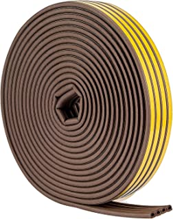 52Feet/16m Weather Stripping for Doors - Weatherstrip 3m Seal by Savina, Soundproofing Seal Strip, Door/Window Anti-Collision, 4 Seal (D Type – Brown)