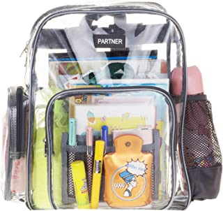 Heavy Duty Clear Backpack Durable Military Nylon - Transparent for School, Security, Stadiums Travel Fit 15.6 Inch Laptop By PARTNER US