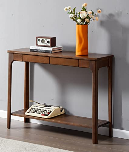 lowest ESPSENT Vintage Entry Console Table Narrow Sofa Side Table with 2 Storage outlet sale Drawers and Bottom Open Shelf, Ideal for Entryway sale Hallway Living Room (Dark Walnut) online