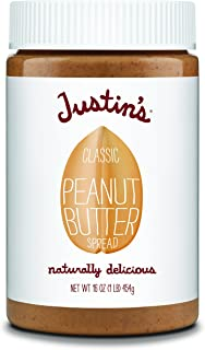 Justin's Classic Peanut Butter, Only Two Ingredients, No Stir, Gluten-free, Non-GMO, Keto-Friendly, Responsibly Sourced, 16oz Jar