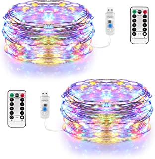 Sinamer Fairy Lights Waterproof USB Powered Copper String Lights 2 Pack 100 LED 33 Ft Dimmable 8 Modes with Remote & Timer Outdoor Indoor Decoration for Christmas Party Garden Patio (Colorful)