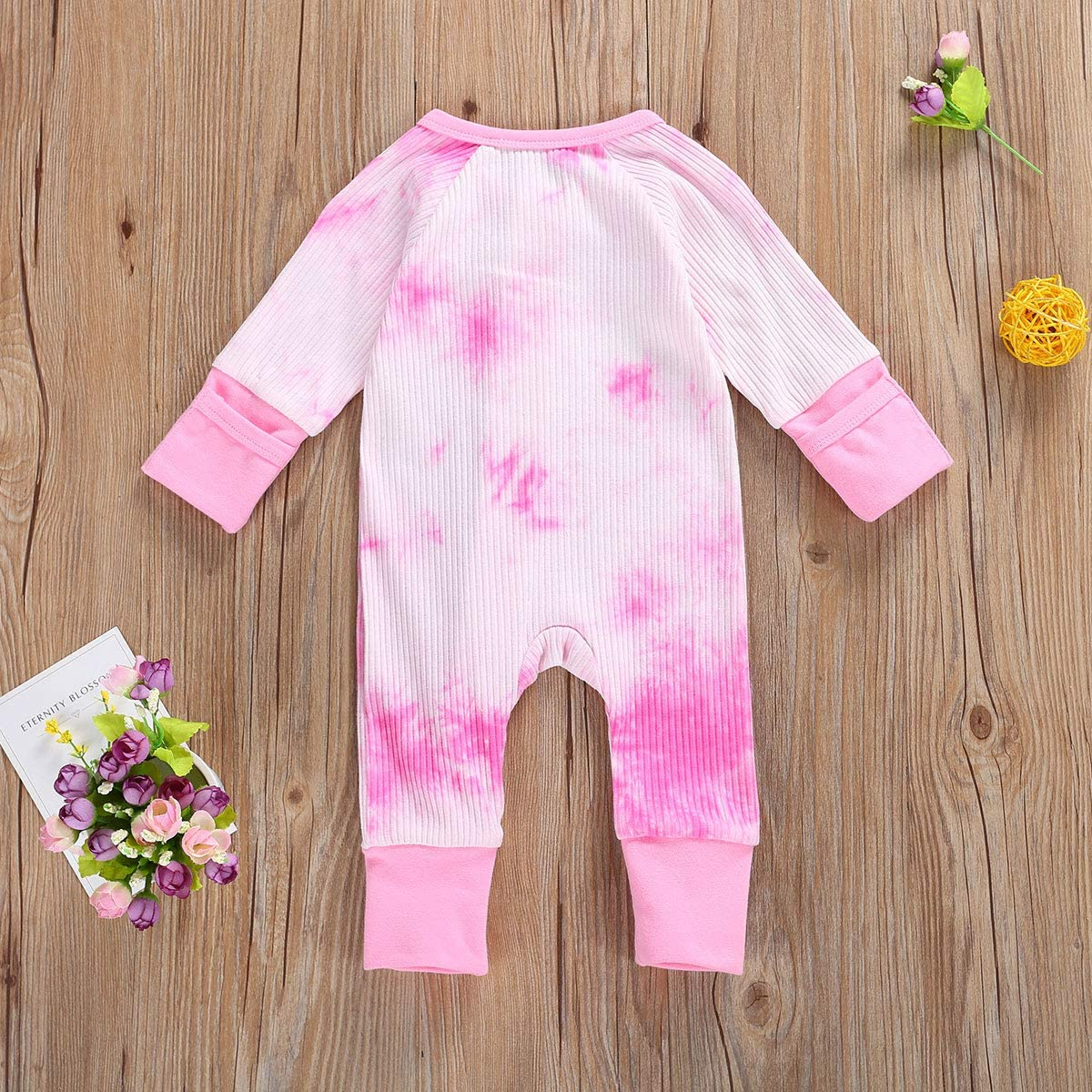 Shejingb Baby Girl Boy Ribbed Romper Jumpsuit Solid Tie Dye Zipper Up Long Sleeve Bodysuit Coverall Fall Outfits