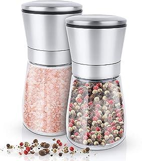 KRONENKRAFT® Salz und Pfeffer mühle Set Salz Pfeffermühle Salzmühle aus Glas-Körper..