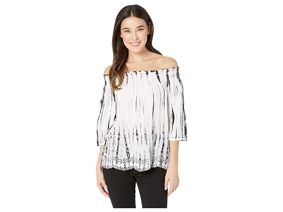 Tribal Challis Woven Embroidered On and Off Shoulder Blouse (Black) Women's Blouse