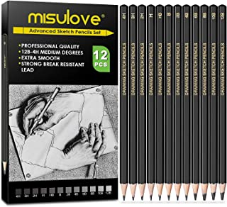 MISULOVE Professional Drawing Sketching Pencil Set - 12 Pieces Art Drawing Graphite Pencils(12B - 4H), Ideal for Drawing A...