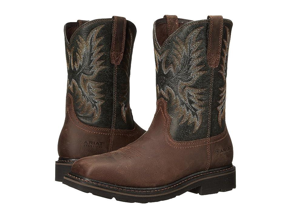 Ariat Sierra Wide Square Toe Steel Toe (Dark Brown/Pine Green) Men