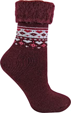 Womens Thick Soft Fuzzy Warm Thermal Winter Patterned Wool Blend Bed Socks