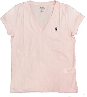 RALPH LAUREN Polo Women's Pony Logo V-Neck Tee (Large, Pink/Newport Navy Pony)