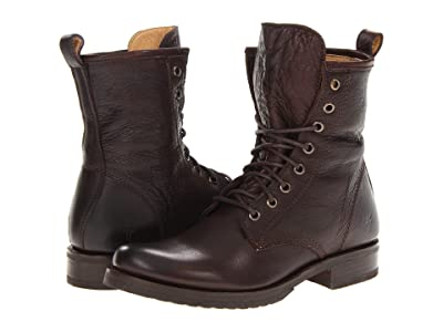 Frye Veronica Combat (Dark Brown Soft Vintage Leather) Women
