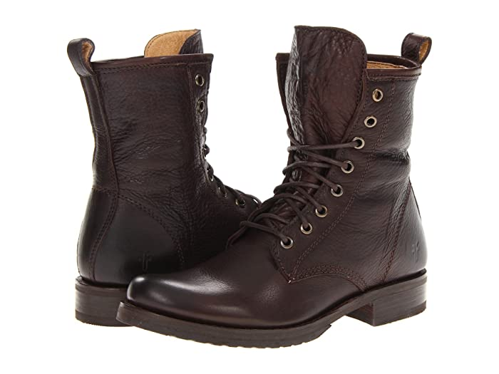 Vintage Boots- Buy Winter Retro Boots Frye Veronica Combat Dark Brown Soft Vintage Leather Womens Lace-up Boots $166.80 AT vintagedancer.com