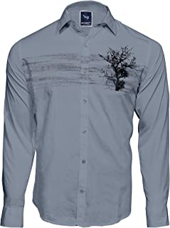 Men`S Designed Cotton Printed Grey Casual Shirts