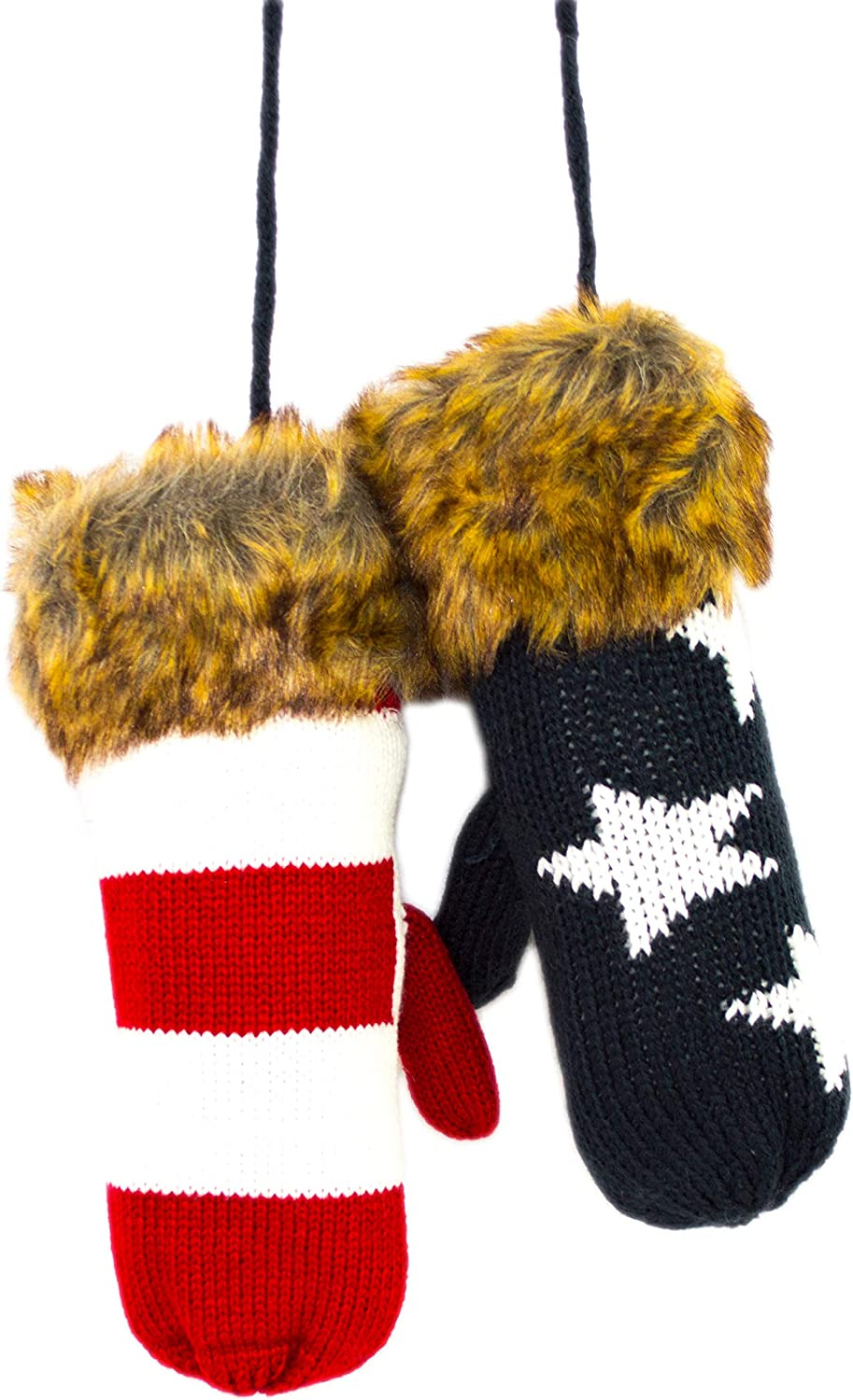 American Flag Warm Knit Mittens with String, Faux Fur Cuff Stars and Stripes Pattern Mittens for Women