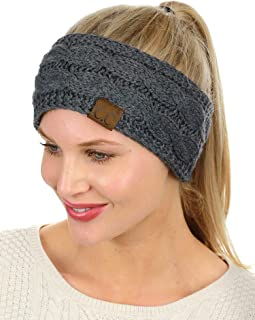 Soft Stretch Winter Warm Cable Knit Fuzzy Lined Ear...
