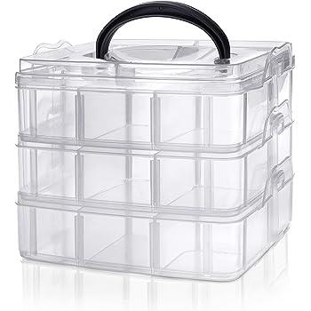 Kurtzy Caja Almacenamiento Plastico 3 Niveles – Ranuras de Compartimentos Ajustables - Caja Organizadora Plastico Transparente – Máximo 18 Compartimentos – Almacenar Joyas, Cuentas, Manualidades: Amazon.es: Hogar