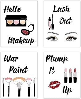 Glam Makeup Fashion Wall Art Posters Pictures Sayings Home Decor Chic Decorations Prints for Teen, Girls, Women, Dorm, College, Vanity, Salon, Bathroom, Lipstick Lashes –Set of 4 8 x 10 inches