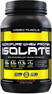 Kaged Muscle Whey Protein Powder, 100% Whey Protein Isolate for Post Workout Recovery, Chocolate, 3lbs