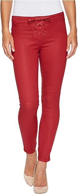 Lace Front Icon Ankle Jeans in Red