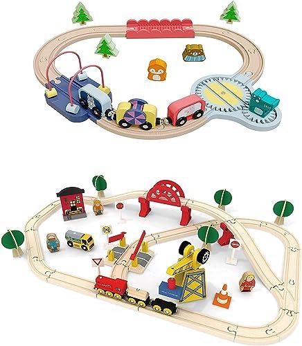 lowest Tiny Land Wooden-Train-Set 22Pcs+60Pcs outlet sale high quality Compatible with Brio Thomas Melissa and Doug Wooden Train Set sale