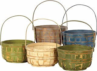 Napco Wood Basket with Handle, Decorative Bushel Style, Color Will Vary, 6 Inch, 6