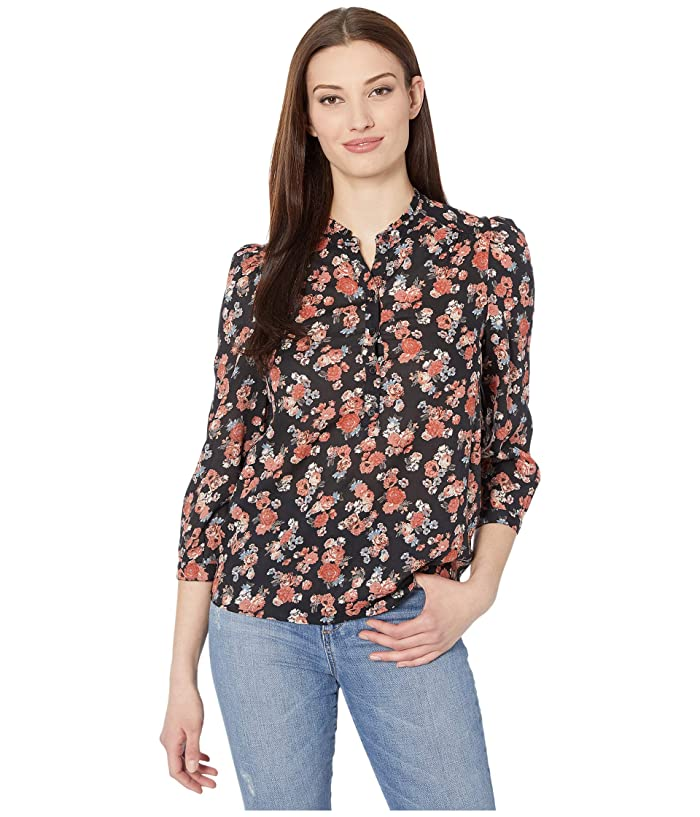 Lucky Brand  3/4 Sleeve Button Neck Printed Megan Popover Top (Black Multi) Womens Clothing