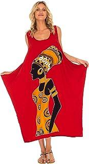 SHU-SHI Womens Loose Dress Casual Beach Cover up Tank Dress Plus Size Sundress