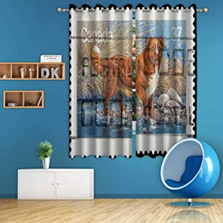 ALUONI Nova Scotia Duck Tolling Retriever Vintage Postage Stamp Digital Art Print Polyester Window Curtains,048027 for Bedroom,55 in Wide x 45 in high