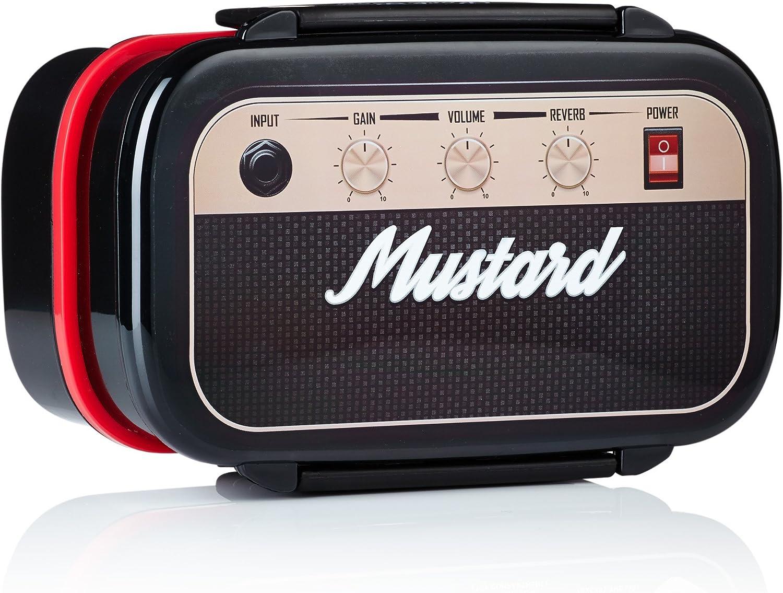 Mustard - Fiambrera hermética en forma de amplificador de guitarra con 3 compartimentos, bento box de almuerzo, color negro