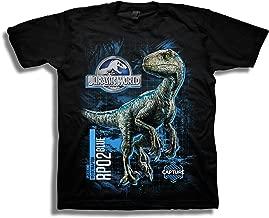Jurassic World Boys 2 Blue Raptor Grid Short Sleeve T-Shirt