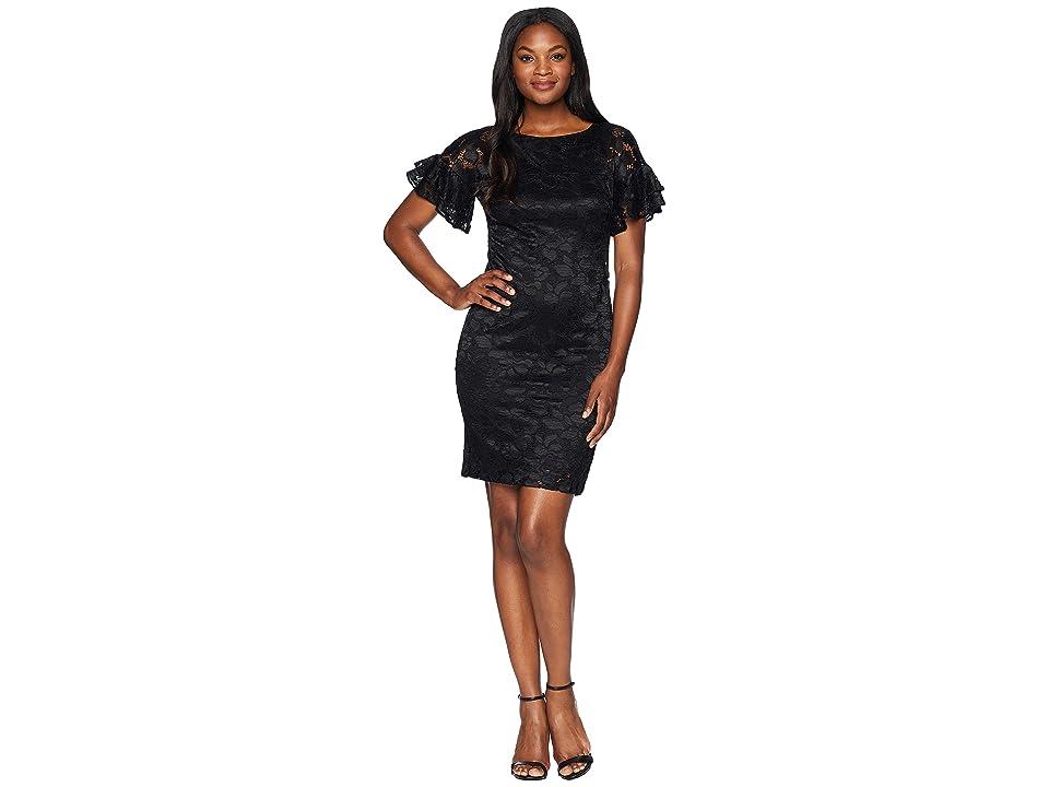 CHAPS Lace Shift Dress (Black) Women
