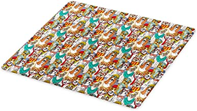 Ambesonne Dog Cutting Board, Hipster Bulldog Schnauzer Pug Breeds with Glasses Hats Scarf Pattern Colorful Cartoon, Decorative Tempered Glass Cutting and Serving Board, Large Size, Teal Brown