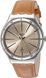 Swatch Montre analogique Marron Calfskin YWS408C - pour Homme - 42,7 mm - Cadran en Acier - Beige