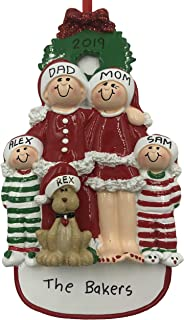 Personalized Family of 4 Christmas Ornament with Dog 2019