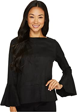 Flare Sleeve Faux Suede Top