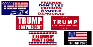 Universal Affect - Collection of 6 Different - Donald Trump Removable Bumper Stickers - Keep America Great! - Made in The USA - UV Resistant - Bonus Free 2020 Trump Re-Election Bill - Set # 2