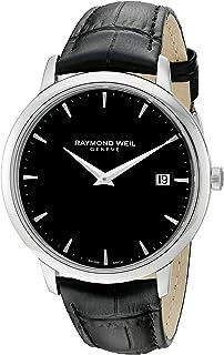 154fbf5b3 Raymond Weil Men's Toccata Stainless Steel Swiss-Quartz Watch with Leather  Strap, Black,